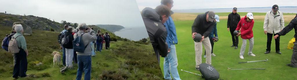 Billede af en vandretur og blinde, der spiller golf